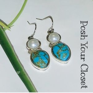 Jewelry - Turquoise Pearl Silver Earrings